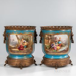Pair of Sevres-style Bronze-mounted Cache Pots