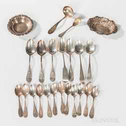 Group of Sterling Silver and Coin Silver Flatware and Two Small Sterling Silver Dishes