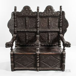 Jacobean-style Carved Oak Settee