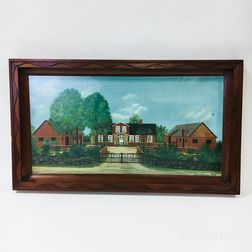 Framed Folk Art Pastel Scene of a Farmstead