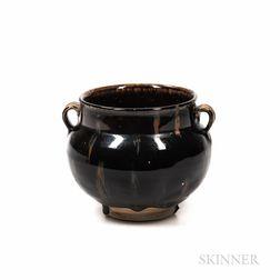 Black-glazed Handled Jar