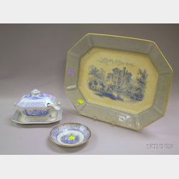 Mayer Blue and White Baronial Halls Pattern Staffordshire Platter and Saucer, and an English Blue and White Pan...