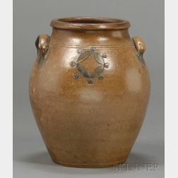 Stoneware Jar with Incised Cobalt Blue Decoration