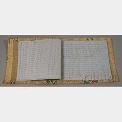 Floral Striped Wallpaper Covered Penmanship Booklet