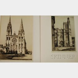 Samuel V. Chamberlain (American, 1895-1975)      Lot of Two Cathedral Views: Cathedral de Sens