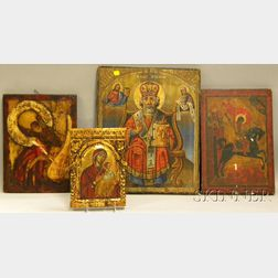 Four Orthodox Christian Gilt and Painted Wood and Gesso Icons