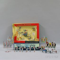 Fifty English and Japanese Painted Lead Medieval Knight Figures and Figural   Groups
