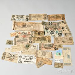 Group of Confederate and Federal Currency and Sutlers Notes