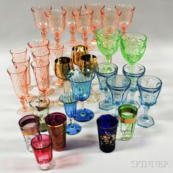 Group of Pressed and Art Glass Tableware Items.     Estimate $200-300
