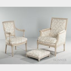 Louis XVI Painted Bergere and Fauteuil and a Footstool