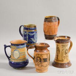 Five Royal Doulton and Doulton Lambeth Commemorative Stoneware Vessels