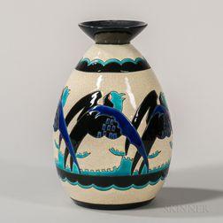Boch Freres Keramis Vase with Stylized Birds