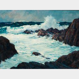 C. Roy (LeRoy) Morse (American, 1913-1997)      Waves Breaking on Rocks
