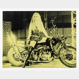 Russell Young (British, b. 1959)      Brigitte Bardot on Bike