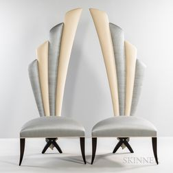 Pair of Christopher Guy X-leg High-back Chairs