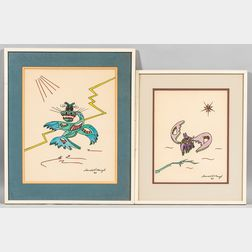 Donald Howard Menzel (American, 1901-1976)      Two Whimsical Drawings of Alien Creatures.