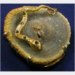 14kt Gold, Crystal and Gem-set Pendant/Brooch