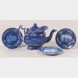 Four Historical Blue Transfer Decorated Staffordshire Pottery Items