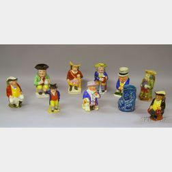 Ten Assorted Glazed and Hand-painted Ceramic Toby Jugs