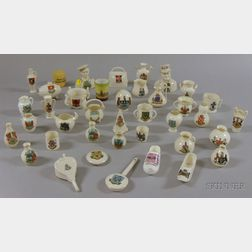 Collection of Approximately Thirty-nine Pieces of Small British Porcelain Souvenir   Crest Ware