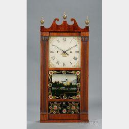 Mahogany Reeded Pillar and Scroll Shelf Clock by Jerome, Thompson & Company