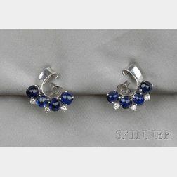 Platinum, Sapphire, and Diamond Earclips, Raymond Yard