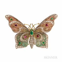 18kt Gold and Plique-a-jour Enamel Butterfly Brooch