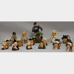 Seventeen Assorted Royal Doulton Ceramic Character Jugs, Busts, Tobys, and a Figure