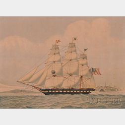 Lucius A. Briggs (Massachusetts, 1852-1931)      Portrait of the Ship ISAAC WEBB   Leaving an American Port.
