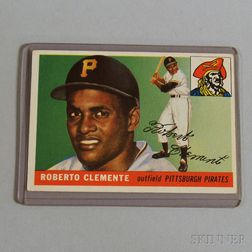 1955 Topps #164 Roberto Clemente Rookie Card.     Estimate $300-400