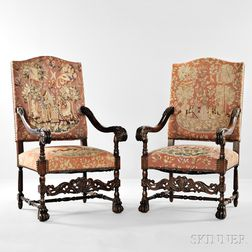 Pair of Louis XIV-style Walnut Fauteuil