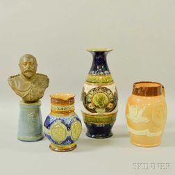 Four Royal Doulton and Doulton Lambeth Stoneware Royal Commemorative Vessels