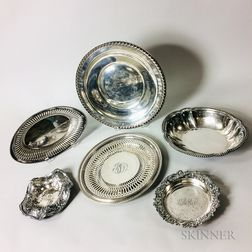Six Pieces of Sterling Silver Tableware and a Silver-plated Bowl