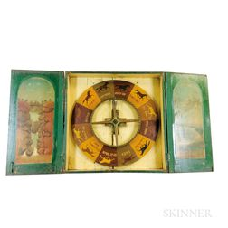 Paint-decorated Pine Wheel of Chance Horse Racing Game