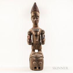 Yoruba-style Carved Wood Figural Helmet Mask