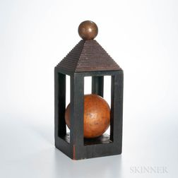 Carved and Painted Pine Sphere in Cage Whimsey