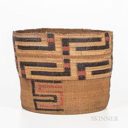 Tlingit Polychrome Twined Basket