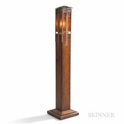 Stickley International Oak and Copper Floor Lamp