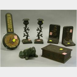 Bronze Thermometer, Green Painted Cast Iron Frog Doorstop, a Pair of Bradley & Hubbard John and Priscilla Alden Bookends, a Pair of Cas
