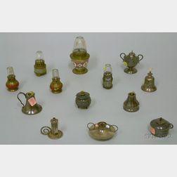 Thirteen Small Fluid Burning Lamps
