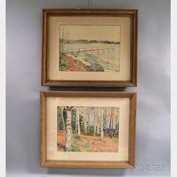 Reidar Lampe (Norwegian, 1887-1964)      Two Watercolors :  Cape Cod