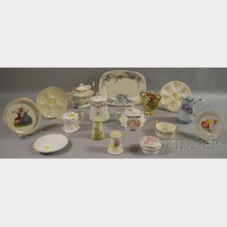 Sixteen Pieces of Miscellaneous Decorated Porcelain and Ceramic Tableware