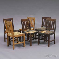 Set of Six Arts & Crafts Oak Dining Chairs