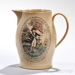 Polychrome and Transfer-decorated Liverpool Pottery Creamware Pitcher