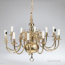 Baroque-style Brass Twelve-light Chandelier