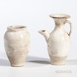 Two Miniature Cream-glazed Stoneware Items