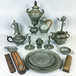 Group of Pewter Tableware and Two Boxes.     Estimate $300-500