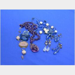 Asian Amethyst Necklace, Crystal Earpendants, and Blue Glass Earrings.