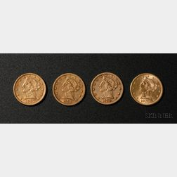 Four United States Liberty Head/Half Eagle Five Dollar Gold Coins