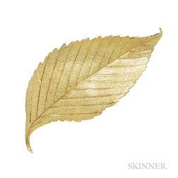 18kt Gold Leaf Brooch, Cartier